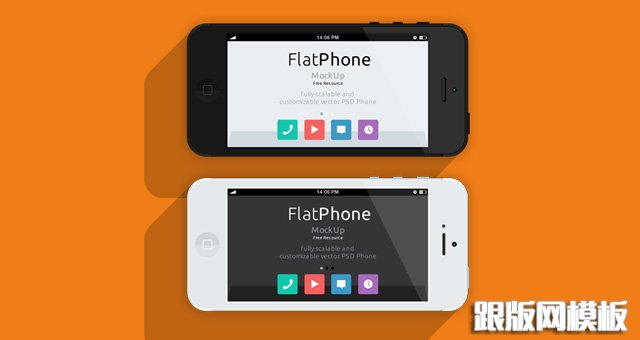 002-iphone-mockup-flat-black-white-landscape-perspective-psd